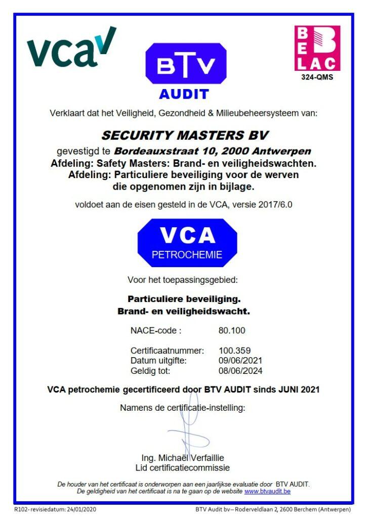 VCA P-certificaat van Security Masters en Safety Masters