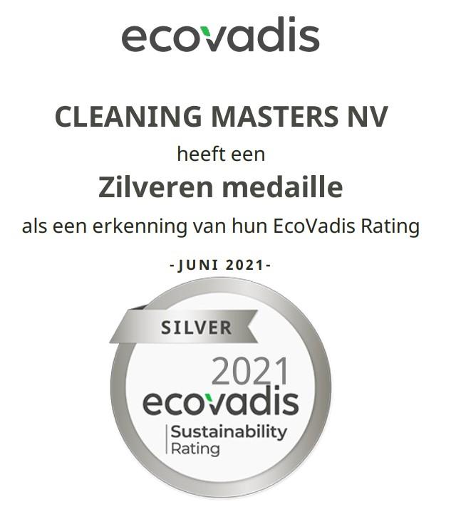 Ecovadis beloont de inspanningen van Cleaning Masters op het vlak van duurzaamheid met een zilveren medaille.